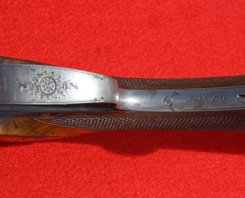 Engravings with Serial Number on Stock of Lefever Shotgun